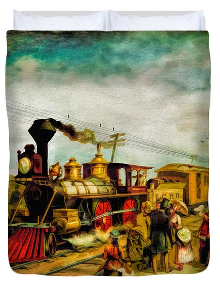 Illinois Central Railroad 1882 Duvet Cover by Lianne Schneider