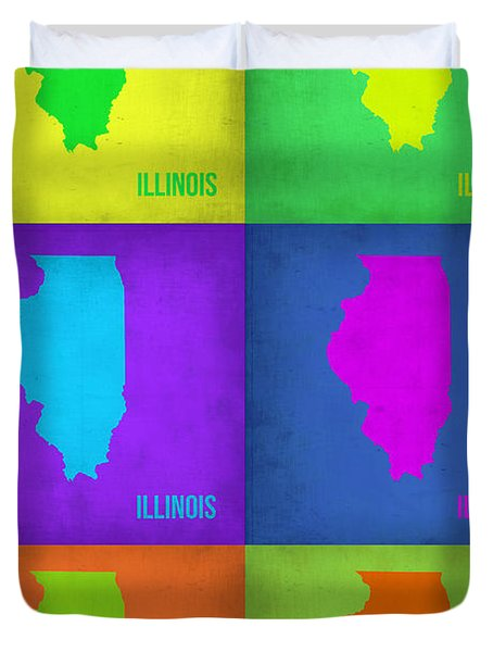 Illinois Pop Art Map 1 Duvet Cover by Naxart Studio