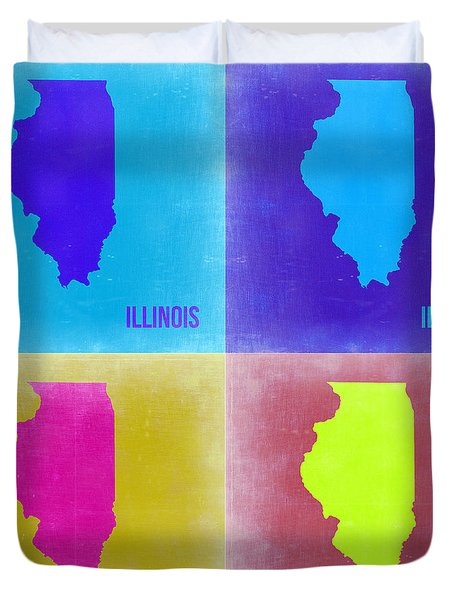 Illinois Pop Art Map 2 Duvet Cover by Naxart Studio