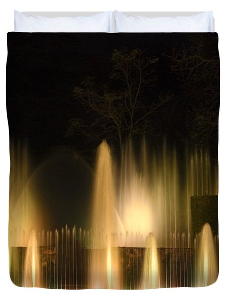 Illuminated Dancing Fountains Duvet Cover by Sally Weigand