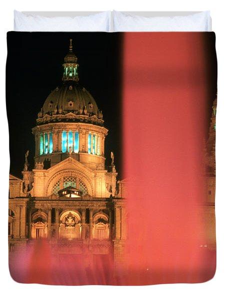 Illuminated Fountain Duvet Cover by Ken Straiton