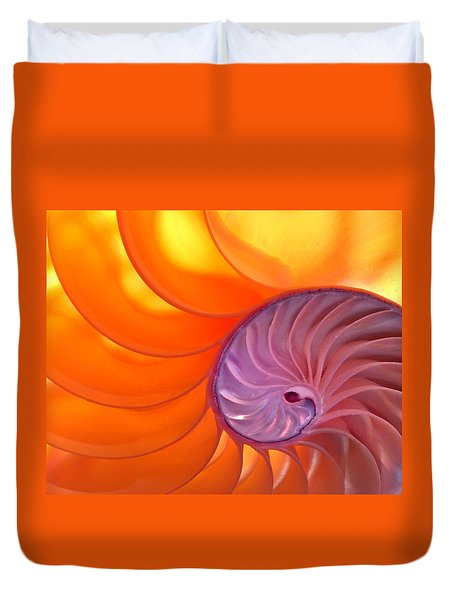 Illuminated Translucent Nautilus Shell With Spiral Duvet Cover