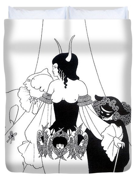 Illustration For The Masque Of The Red Death Duvet Cover by Aubrey Beardsley