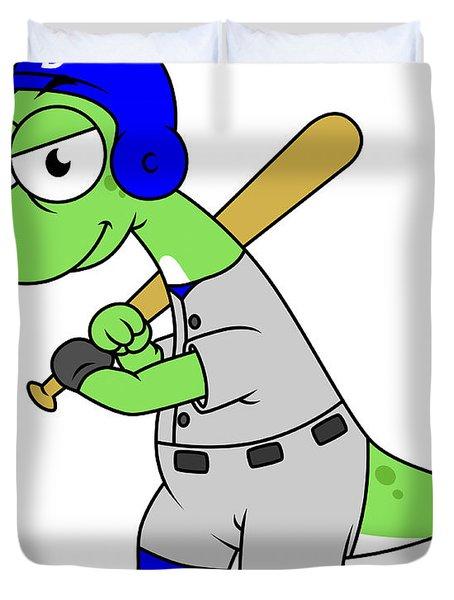 Illustration Of A Brontosaurus Baseball Duvet Cover by Stocktrek Images