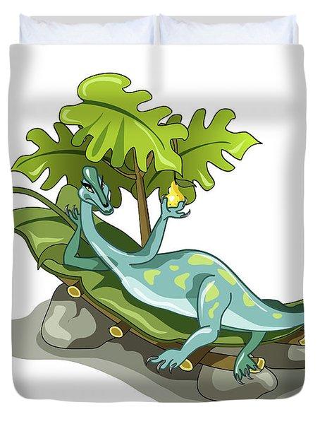 Illustration Of An Iguanodon Sunbathing Duvet Cover by Stocktrek Images