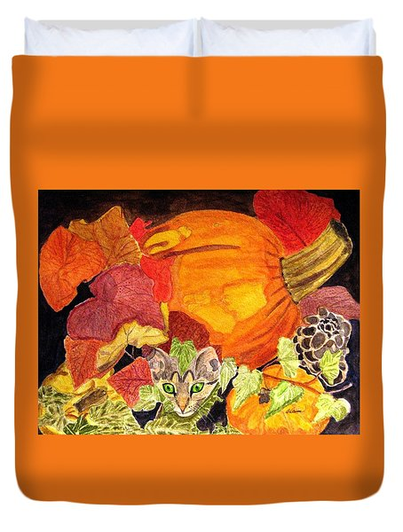 Duvet Cover featuring the painting I'm Hiding In The Pumpkin Patch by Angela Davies