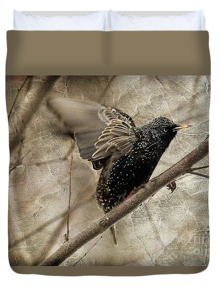 I'm Outta Here Duvet Cover by Lois Bryan