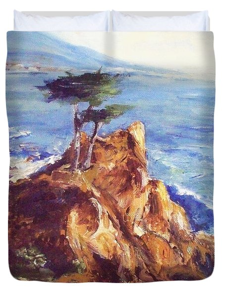 Duvet Cover featuring the painting Imaginary Cypress by Eric  Schiabor