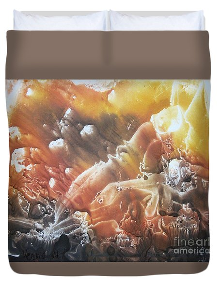 Duvet Cover featuring the painting Imagination 2 by Vesna Martinjak