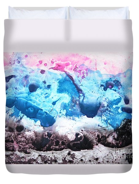 Duvet Cover featuring the painting Imagination 5 by Vesna Martinjak
