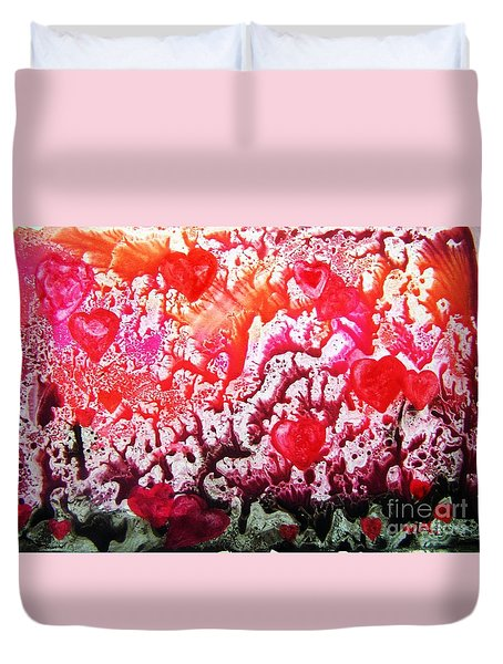 Duvet Cover featuring the painting Imagination 6 by Vesna Martinjak