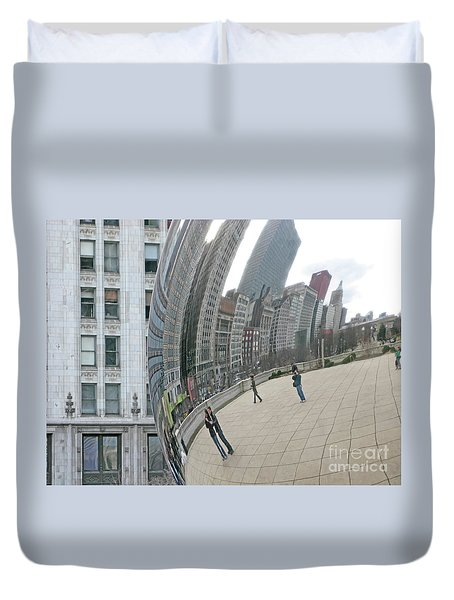 Duvet Cover featuring the photograph Imaging Chicago by Ann Horn
