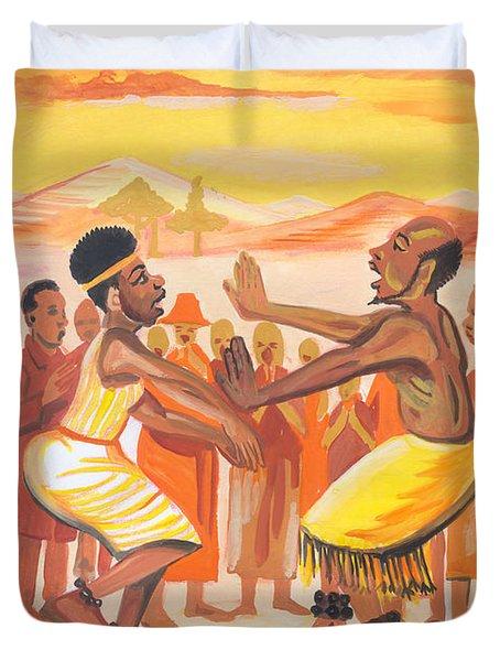 Duvet Cover featuring the painting Imbiyino Dance From Rwanda by Emmanuel Baliyanga
