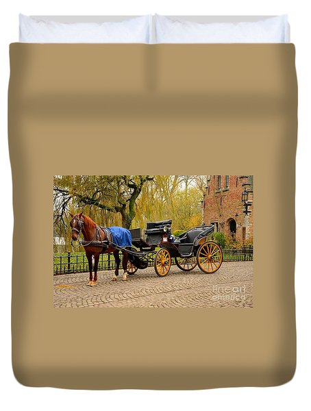 Immaculate Horse And Carriage Bruges Belgium Duvet Cover