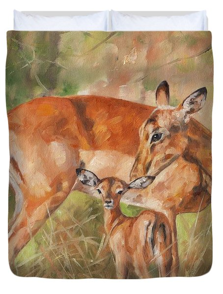 Impala Antelop Duvet Cover by David Stribbling