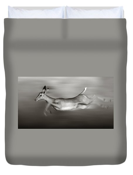 Impala Running  Duvet Cover by Johan Swanepoel