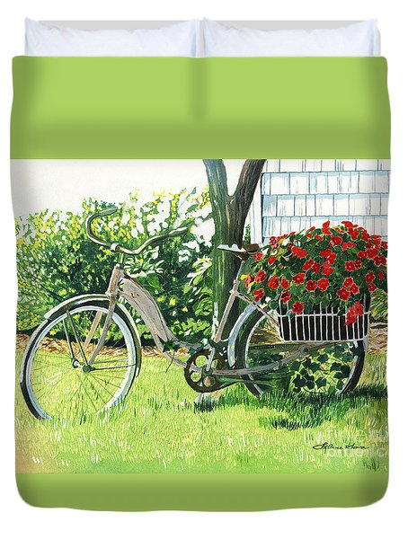Duvet Cover featuring the painting Impatiens To Ride by LeAnne Sowa