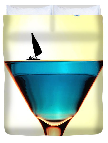 Impression Sunrise Sailing On The Cups Little People On Food Duvet Cover by Paul Ge