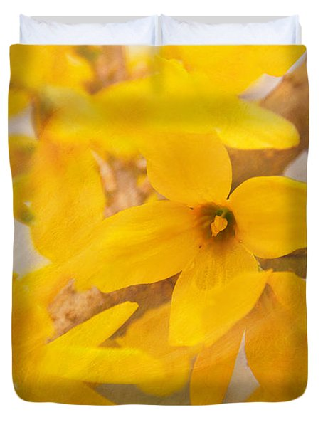 Duvet Cover featuring the photograph Impressionist Forsythia by Jemmy Archer