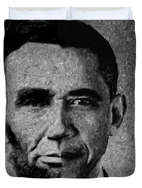 Impressionist Interpretation Of Lincoln Becoming Obama Duvet Cover