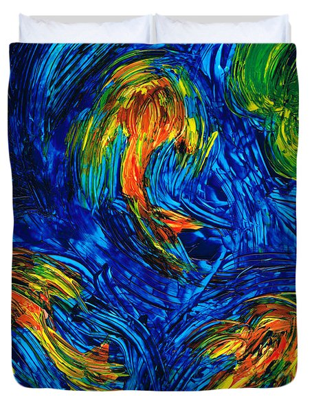 Impressionist Koi Fish By Sharon Cummings Duvet Cover