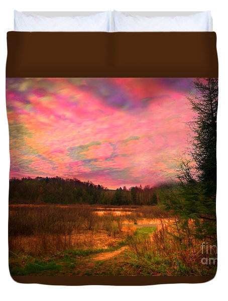 Impressionistic Morning View Of West Virginia Botanic Garden Duvet Cover by Dan Friend