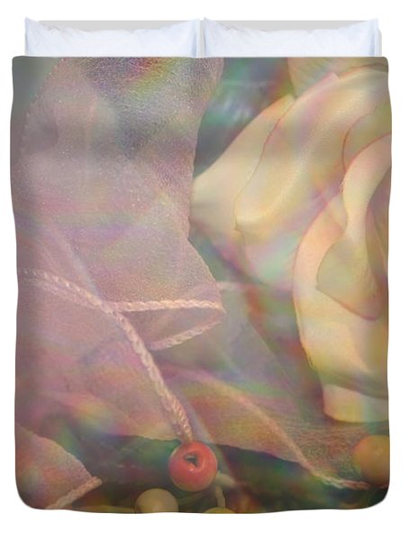 Duvet Cover featuring the photograph Impressionistic Pink Rose With Ribbon by Dora Sofia Caputo Photographic Art and Design