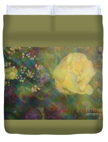 Duvet Cover featuring the photograph Impressionistic Yellow Rose by Dora Sofia Caputo Photographic Art and Design
