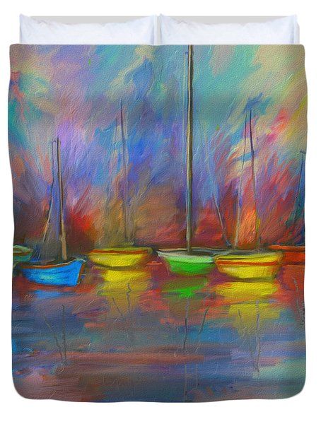 Impressions Of A Newport Beach Sunset Duvet Cover by Angela A Stanton