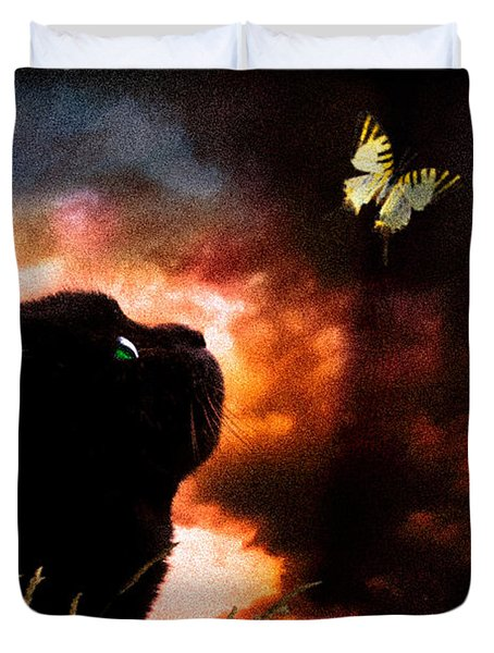 In A Cats Eye All Things Belong To Cats.  Duvet Cover by Bob Orsillo