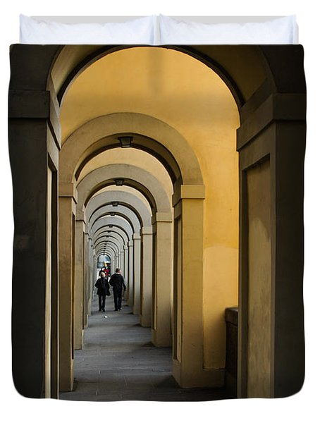 In A Distance - Vasari Corridor In Florence Italy  Duvet Cover