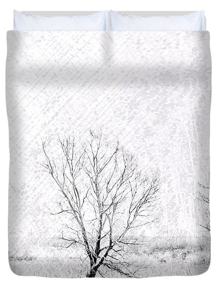 In A Line. Winter Trees Duvet Cover by Jenny Rainbow