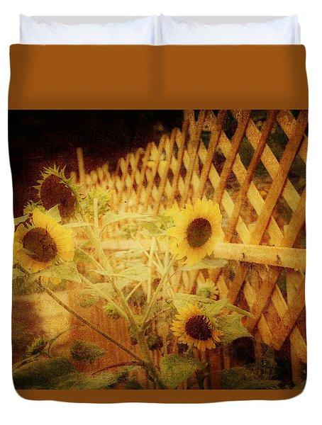 Sunflowers And Lattice Duvet Cover by Toni Hopper