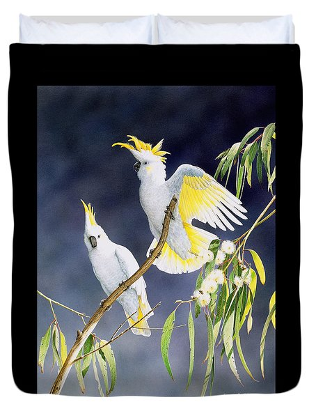 In A Shaft Of Sunlight - Sulphur-crested Cockatoos Duvet Cover by Frances McMahon