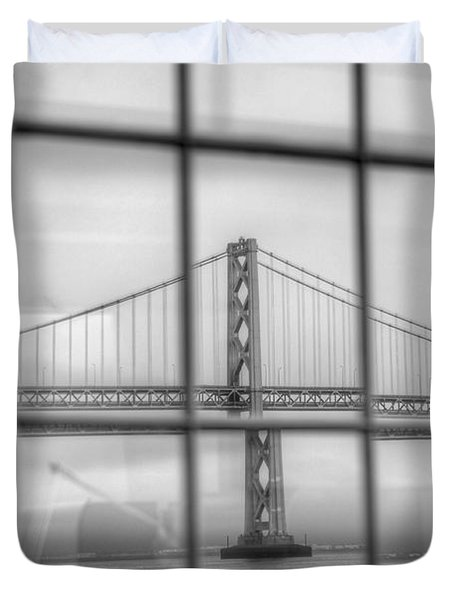 in a window the Bay Bridge Duvet Cover