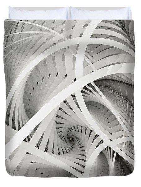 In Betweens-white Fractal Spiral Duvet Cover