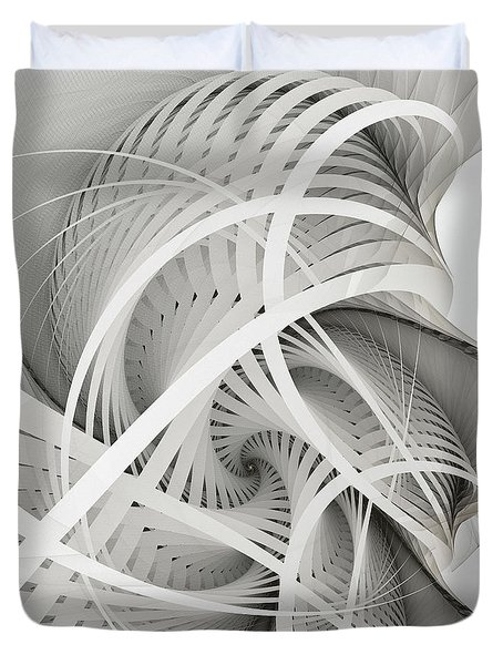 In Betweens-white Fractal Spiral Duvet Cover