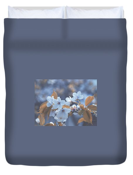Duvet Cover featuring the photograph In Blue by Rachel Mirror