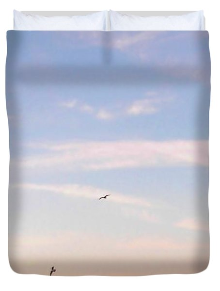 Duvet Cover featuring the photograph In Flight Over Rehoboth Bay by Pamela Hyde Wilson