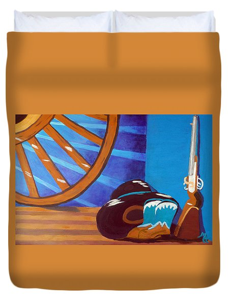 In Memory Of Cowboys Duvet Cover