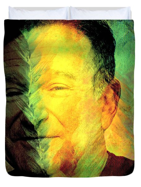 In Memory Of Robin Williams Duvet Cover by Ally  White