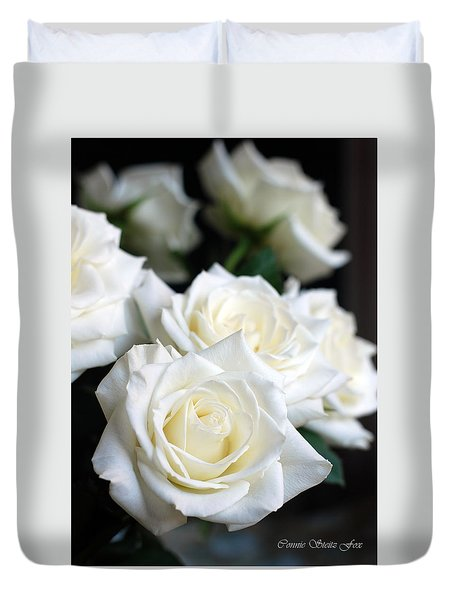 In My Dreams - White Roses Duvet Cover by Connie Fox