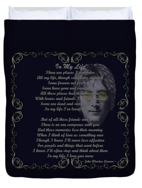 In My Life Golden Scroll Duvet Cover