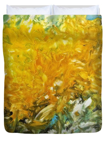 Duvet Cover featuring the painting In My Magic Garden by Joan Reese