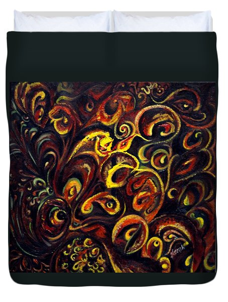 Duvet Cover featuring the painting In Search Of  Ultimate Truth by Harsh Malik