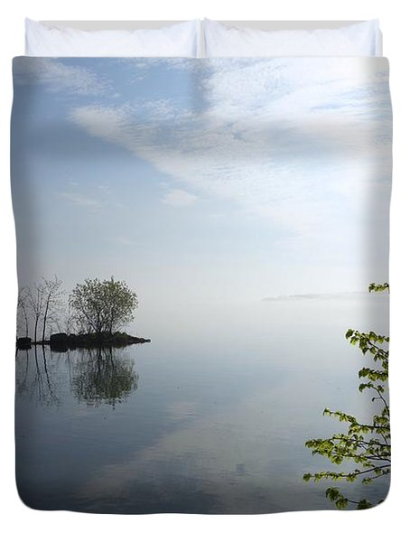 In The Distance On Mille Lacs Lake In Garrison Minnesota Duvet Cover