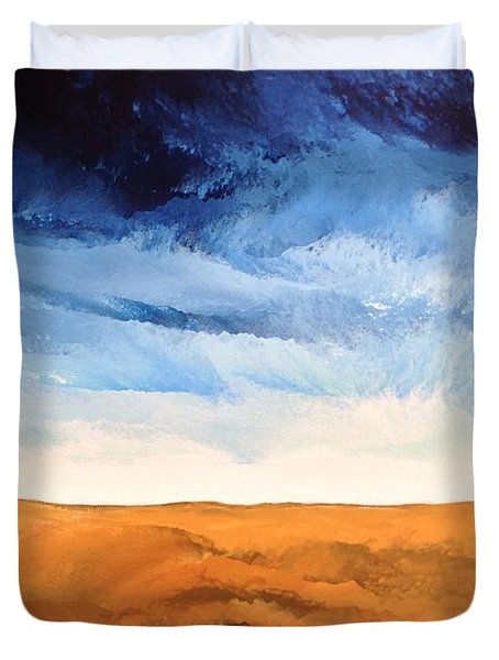Duvet Cover featuring the painting In The Distance by Linda Bailey