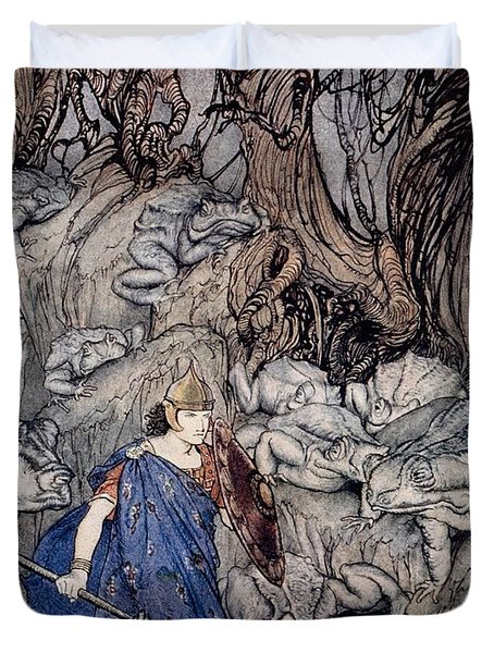 In The Forked Glen Into Which He Slipped At Night-fall He Was Surrounded By Giant Toads Duvet Cover by Arthur Rackham