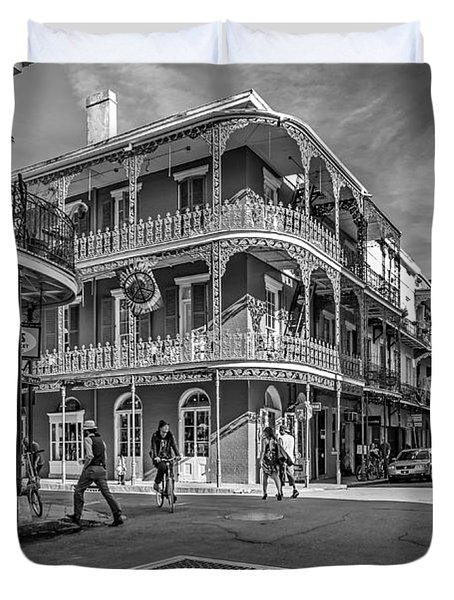 In The French Quarter Monochrome Duvet Cover by Steve Harrington