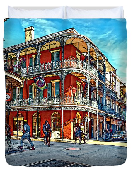 In The French Quarter Painted Duvet Cover by Steve Harrington